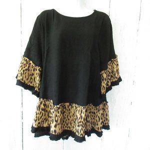 Umgee Leopard Ruffle Linen Blend Plus Size